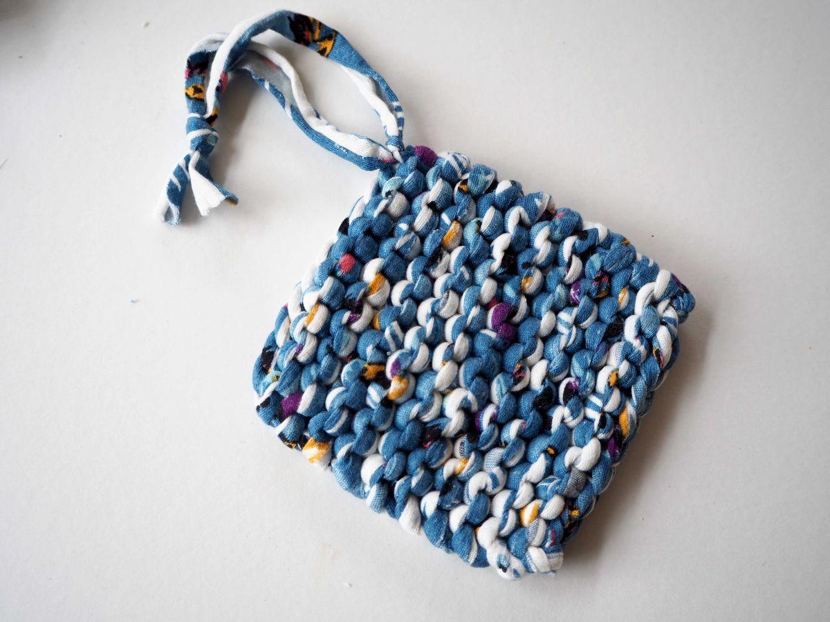 Porte-savon tawashi , lavable, inusable, tricoté main, coton bleu, blanc couleurs