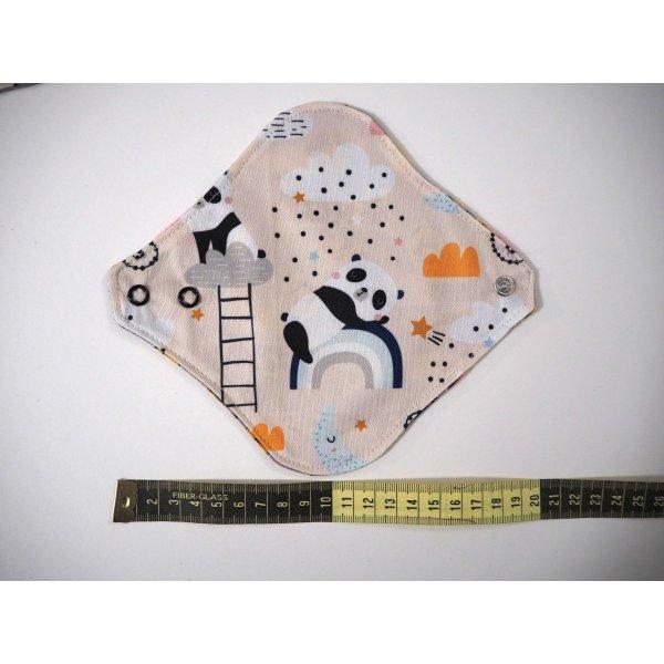 Protège slip lavable et réutilisable, flanelle et PUL, fanelle  taupe avec animaux, PUL rosé