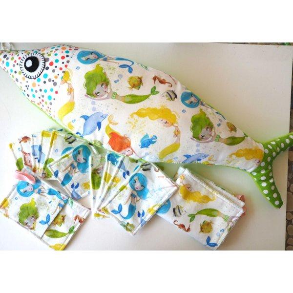 Serviette bébé/enfant,sirènes ton vert/rose/bleu
