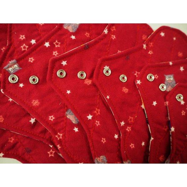 Serviette hygiènique lavable T1, rouge foncé chouettes, coton petites poules