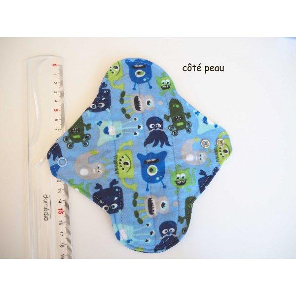 Serviette hygiènique lavable T1, bleu clair avec monstres, coton hérissons bleus