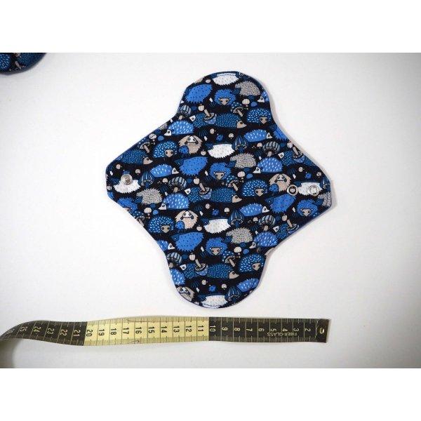 Serviette hygiènique lavable T1, leu uni, coton petits hérissons bleus
