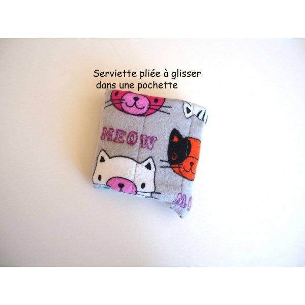 Serviette hygiènique lavable T1, gris/jaune avec têtes de chat, coton noir papillons multicolores