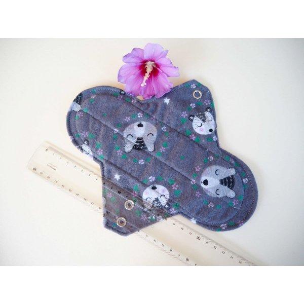 Serviette hygiènique T2 lavable,gris ours,  coton gris/rose