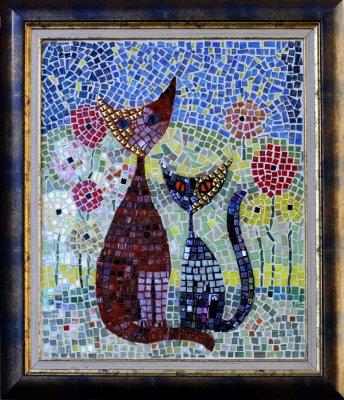 Grand tableau, mosaïque, 60x68cm, encadré, Maman chat et bébé au jardin