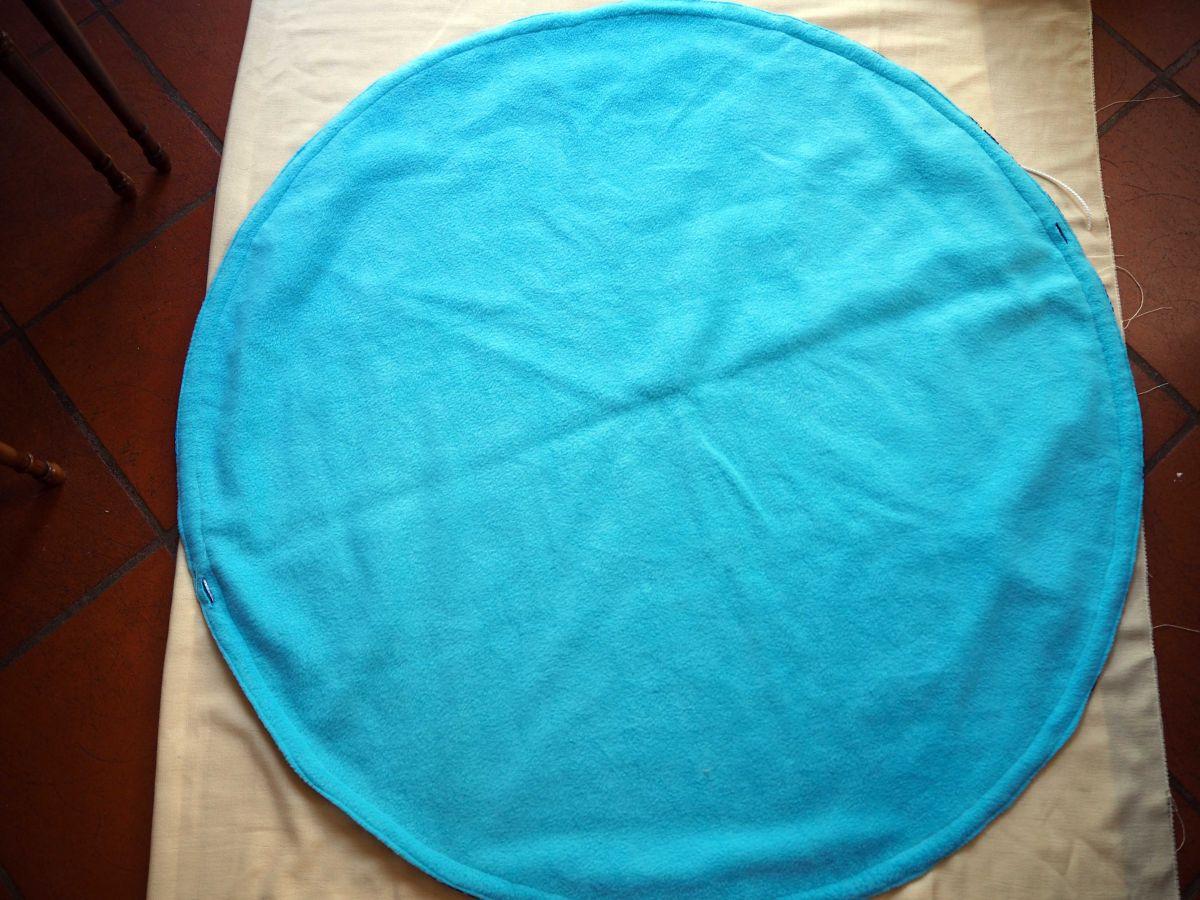 TAPIS DE JEU,bleu/paresseux, rond, diam 112cm, pliable, coton et polaire, lavable