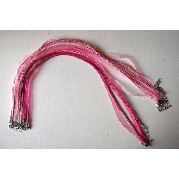Tour de cou, collier court, fil coton et ruban, tons rose