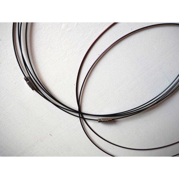 Tour de cou, collier court, fil acier, tons noir/marron