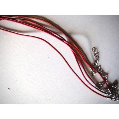 Tour de cou, collier court, fil cuir rouge 1,5mm