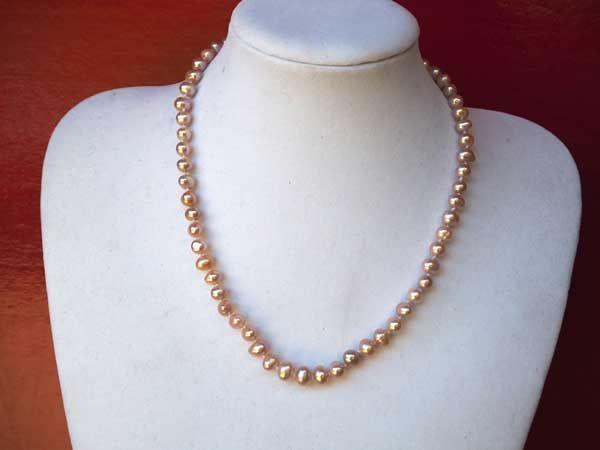 Très Beau collier en perles d'eau douce, rose nacré, 47cm, idéal cérémonie, mariage