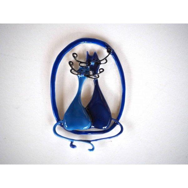 Très beau pendentif 75x50mm, 2 chats amoureux , 2 tons de bleu, métal émaillé