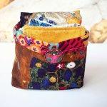 Panier tissu Klimt 10 lingettes + 1 serviette lavables, tissu Kaufmann d'après Klimt: le baiser