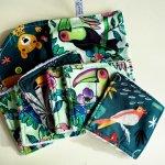 Pochette Nomade + 6 lingettes assorties, lavable, réutilisable, coton vert avec Toucans