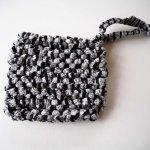 Porte-savon tawashi , lavable, inusable, tricoté main, coton noir et gris