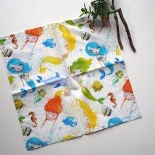 Petit mouchoir/serviette, coton , lavable, réutilisable, 27x27cm, blanc sirènes colorées