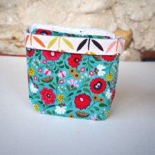 Pochon réversible et 7 lingettes démaquillantes lavables, coton, tissu bleu fleurs rouges