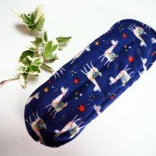 Serviette hygiénique T2 eponge 2 épaisseurs, lavable, bleu avec lamas
