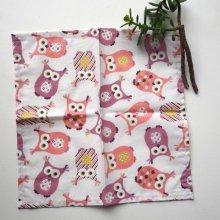 Petit mouchoir/serviette, coton , lavable, réutilisable, 27x27cm, ton rose hiboux
