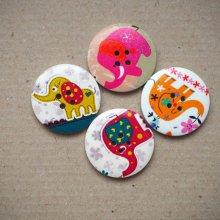 4 Gros boutons bois éléphants différents