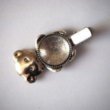 Barrette pince ours , argent antique, cabochon 20mm  fourni