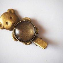 Barrette pince ours , bronze antique, cabochon 20mm  fourni