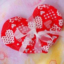 Bouillotte COEUR déhoussable, rouge avec coeurs blancs