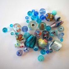 Lot de 14+17 perles en verre différentes turquoise foncé et clair