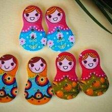 5 grands boutons bois, POUPEES RUSSES, 30x17,5mm, 3 couleurs variées et différentes, couture, scrap, déco, customisation..