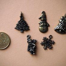 5 Breloques de Noël, couleur bronze, 15/25mm