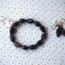 Bracelet+boucles d'oreilles en  SODALITE et verre