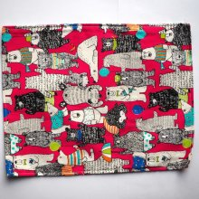 Bouillotte coton déhoussable 22x28cm toile rouge avec ours