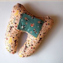 Grosse DENT tissu avec poche pour pièce, 12x13x5cm, motifs fleurs rose/bleu