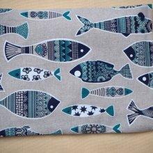 Bouillotte coton déhoussable poissons bleus, 21x29cm