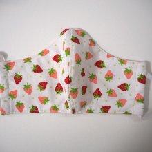 Masque 3 épaisseurs, coton et micro-fibre, petites fraises