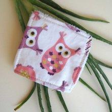 Lingette démaquillante lavable, tissu rose avec chouette
