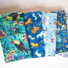 lot de 5 serviettes essuie-tout, coton-éponge, lavable, tons bleus