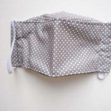 Masque 3D L plus grand , Face coton, dos crêpe, gris pois blancs