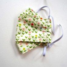 Masque 3D M, Face coton, dos crêpe, blanc petites fleurs