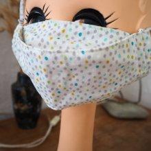 Masque 3D M, Face coton, dos crêpe, blanc petits pois, pour femme, ado