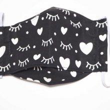 Masque 3D M, Face coton, dos crêpe, noir avec cils et coeurs