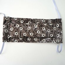 Masque afnor , Face coton, dos crêpe, gris/noir avec fleurs, pour femme, ado