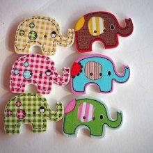 5 boutons bois, ELEPHANT moyen, 29x20mm, tous différents, couture, scrap, déco, custumisation..