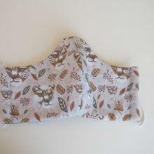 Masque de soin  , 3 épaisseurs, coton fantaisie tigres et gris avec étoiles