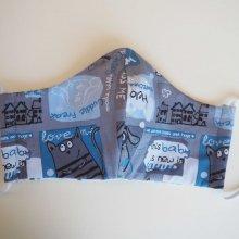 Masque de soin  , 3 épaisseurs, coton fantaisie ton bleu, chats et gouttes