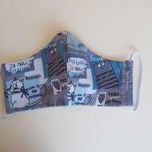 Masque de soin  , 3 épaisseurs, coton fantaisie ton bleu, chats et tigres
