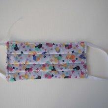 Masque en tissu lavable, plissé, réversible, ton gris avec poules et papillons