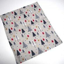 Bouillotte coton déhoussable 23x30cm  , gris sapins