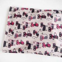 Bouillotte coton déhoussable 23x30cm  , tissu beige chats noirs/rouges