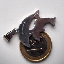Pendentif, 2 dauphins, acier inoxydable, 3,5x2cm