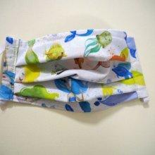 Masque en tissu , plissé, avec pince-nez, 3 épaisseurs, sirène